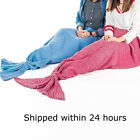 Kids  Adult Fluffy Hand Crocheted Mermaid Tail Blanket Sleeping Bag