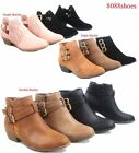 Womens Buckles Almond Toe Low Heel Western Ankle Booties Shoes Size 5 10 NEW