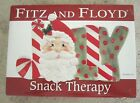 FITZ AND FLOYD Red and White Candy Cane Santa Snack Therapy Elongated Tray