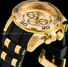 Invicta Men 50m Pro Diver Scuba Chronograph 18K Gold IP Stainless Steel PU Watch