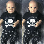 US STOCK Infant Baby Boys Skull T Shirt Tops+Long Pants 2Pcs Outfits Clothes Set