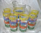 Vintage Retro Beverage Set Pitcher  6 Tumblers Banded Striped Fiesta Go With