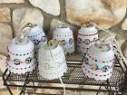 Vintage Mid Century Set Lot 6 Retro Hanging Swag Lamps White Plastic Lawnware