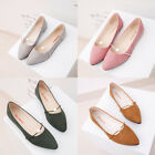 Womens Elegent Pearl Ballet Slip On Flats Pointed Toe Boat Loafers Single Shoes