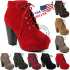 NEW Womens Fashion Comfort Stacked Chunky Heel Lace Up Ankle Booties Boots