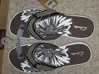 Womens CLARKS Breeze PEWTER Flip Flop Thongs Sandal Size 11 New in Box