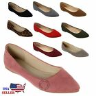 NEW Womens Classic Suede Pointy Toe Ballet Flat Shoes