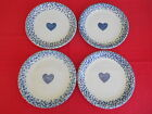 Vintage Set of 4 Tienshan Blue Hearts Spongeware Dinner Plates - 2 Available
