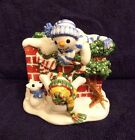 FITZ & FLOYD The Flurries Snowman Handcrafted Napkin Holder Christmas/Winter EUC