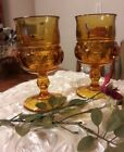 JUST REDUCED!! TWO KINGS CROWN AMBER Vintage Glass Goblets