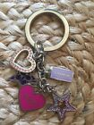 Coach HeartsStars Girlie Crystal Pink And PurpleMulti Mix Key Chain Ring Fob