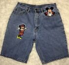 VTG 90s Disney Sz L Mickey Minnie Mouse Embroidered Jean Shorts Mickey Inc