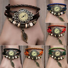 Fashion Women Girl Vintage Charming Bracelet Faux PU Leather Quartz Wristwatches