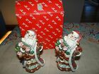 Fitz and Floyd Salt and Pepper Shakers-Santa with Wreath