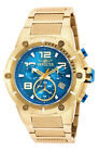 NEW!! Invicta 19532 Speedway XL Teal Blue Gold Plated Chronograph Swiss Watch