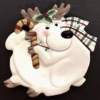 Fitz and Floyd Plaid Christmas Reindeer Canape Plate 2001 Serving or Wall Decor