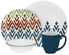 Corelle Vive Zamba Material Glass Dishwasher Microwave Safe Dinnerware Set 16-Pc