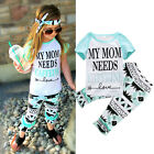 2pcs Baby Girls Clothes Short Sleeve Shirt Top Graphic Pant Summer Beach Outfits