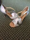 Womens Latin Salsa Ballroom Shoes Silver Sparkle Size 7 1 2
