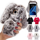 Cute Bunny Warm Furry Rabbit Fur TPU Case Cover For Samsung S6 S7 S8 Note 8 5 4