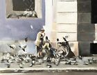 Pigeon Lady Art PRINT signed art print from oil painting by James Coates