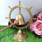 Bell brass amulet thai antique style buddha wood chime church decor hanging old