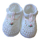 Baby Girl Booties Petit Ami White and Pink Crocheted NWT 3 6m