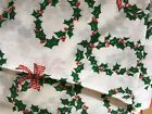 Christmas Tablecloth HOLLY GARLAND 60 x 104 OVAL Holiday SEARS Vintage