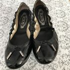 TODS Black Patent Leather Slip On BALLERINA DEE LACCETTO w Ties Size 39 Flats