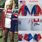 WomenKids Suicide Squad Harley Quinn Cosplay Top Pants Shorts Jacket Suit Set