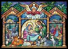 Stained Glass Nativity Religious Christmas Cards Box of 15