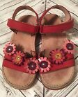 Aster Girls Sandals Size 10 27 Red Leather Pink Flowers  made in France