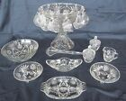 Early American Prescut Clear Anchor Hocking Punch Bowl 12 Cups + Serving Pieces