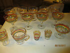 14PC LOT ANCHOR HOCKING/FIESTA RED BLACK YELLOW RAINBOW STRIPED BANDED GLASSWARE