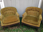Pair Vintage Velvet Chesterfield Tufted Back Club Chairs By Sam Moore Circa 1960