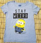 Despicable Me Minion Stay Weird Junior Womens Blue Character Tee Shirt Small