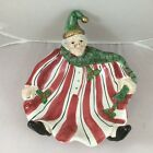Fitz & Floyd St Nick Serving Dish Rare Stocking/Night Cap Trimmed with Holly