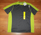 NWT Mens REEBOK Dark Gray Lime Green Accent Crew Neck Hydromove S S T Shirt 3XL