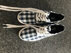 Mossimo womans blue and white checkered sneakers size 7 New