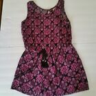 Justice Girls Romper Shorts One Piece Pink Black Medallion Size 14