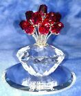 Swarovski Crystal Vase of Red Roses 2002 Jubilee Edition 15th Anniversary of SCS