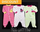 Infant Baby Girl Clothes Size 0 3 Months Zip Up Footed Sleepers Mixed Lot Set