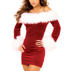 New Women Sexy Off Shoulder Santa Outfit Adult Mrs Christmas Costume Fancy Dress