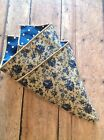 NEW Pocket Square Tan Navy Blue Floral Polka Dots Reversible Gift Handkerchief