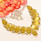 Yellow Cats Eye 925 Sterling Silver Necklace 17994678