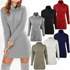 Womens Ladies Furry Jumper Dress Soft Stretchy Fluffy Oversized Turtle Neck Top