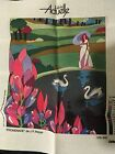 Needlepoint Canvas Art Deco Lady with Swans DMC Actuelle Collection