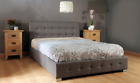 BRAND NEW EX DISPLAY Nicole Grey PU Leather fabric look double ottoman bed 46