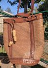 Leather and Straw Woven Satchel