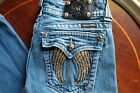 MISS ME Womens Vintage Distressed Blue Gold Stitch Wing Embroidery Jeans Pants